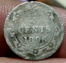 1896  5 Cents Newfoundland Canada -Silver