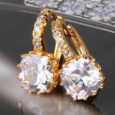 24ct Gold Filled Crystal Princess Hoop Earrings White Sapphire  yellow Topaz