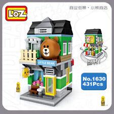 LOZ Blocksteine Gebäude Kinder Geschenk DIY Street Little Brown Bear Shop 431PCS