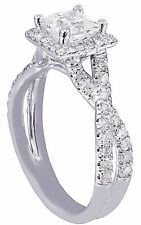 Engagement Ring Bridal Halo Twisted 1.35ctw 14k White Gold Princess Cut Diamond