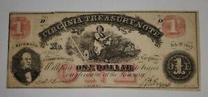 1862 One Dollar Virginia Treasury Note (Cr. 17)  - Gutter Fold Error