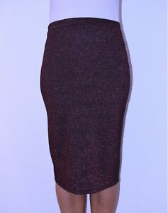 New Red Black Sparkly Pencil Skirt Party Wedding Travel Autumn Summer Size 12 AT