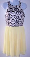 LuLu's Sleeveless Skater Dress S Black/White Silky Top w/Yellow Chiffon Skirt