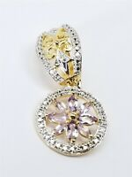 Women's Sterling Silver 925 Charm with Purple & White Stones Free Shipping#81382