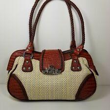 M.C. Marc Chantal Handbag Shoulder Bag Woven Tapestry Moc Croc Purse Bottom Feet