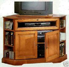 Meuble TV d'angle merisier 2 portes 1 abattant