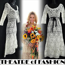 VINTAGE CROCHET DRESS 70s LACE WEDDING 14 12 10 60s HIPPIE BOHO FESTIVAL VAMP
