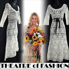 Vintage Crochet Vestido 70s Boda de Encaje 14 12 10 60s Hippie Boho Festival Vamp