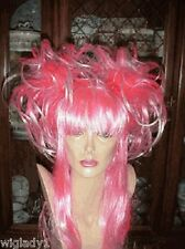 SIN CITY COSTUME WIGS HOT NEON PINK LONG STRAIGHT SHINY PIGTAILS FUN FUNKY WILD