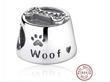 Genuine S925 Sterling Silver Dog Bowl Woof Charm Fit PA European Bracelet Chain