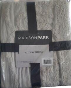 "New Gray Chenille Fringe Tufted Throw Blanket 50""x60"" Madison Park 100% cotton"