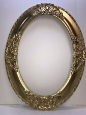 """Large Antique Oval Gesso Wood Picture Frame """"NICE"""""""
