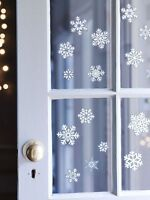 4 SHEETS x CHRISTMAS GLITTER WINDOW DECORATION SNOWFLAKE STICKERS HOME OFFICE