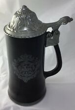 "Black Pewter 8"" Stein With Lid And Love Poem Vintage-heavy glass"