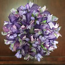 "Purple Spring Tulip Deco Mesh Wreath Door Wall Decor 22"" New!"