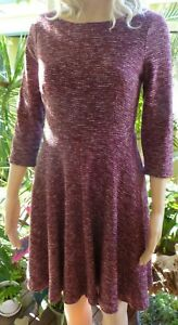 Portmans maroon/red knit winter lined skater dress size 8