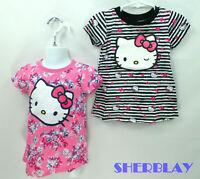 2 Girls HELLO KITTY Floral Pink & Black Strip Hearts T SHIRT NWT 12 Months