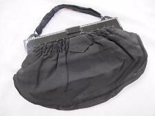 VINTAGE 1930's ART DECO BLACK RHINESTONE & CELLULOID FRAMED CREPE PURSE BAG