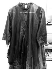 Jcpenney Womans Large BLACK  Pegnoir 2 Pc Set Nighty Sheer Robe Vintage Lingerie