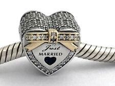 Authentic Pandora Wedding Heart w/ 14k Gold & CZ Charm, 792083CZ, New