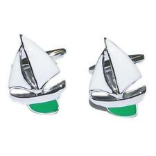 Plateado Y Verde Esmalte Yate Gemelos Con Bolsa De Regalo Barco Quilla Viento Sail Nuevo