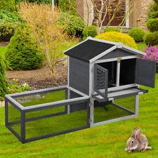 "61"" Wooden Chicken Coop Rabbit Hutch Hen House Poultry Pet Cage Waterproof Gray"