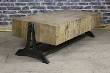 LARGE INDUSTRIAL STYLE COFFEE TABLE WITH RECLAIMED PINE TOP AND CAST IRON BASE