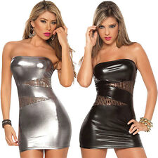 Women Sexy Patent Leather Bodycon Strapless Lure Clubwear Party Stripper Dress