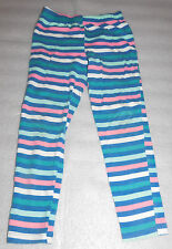 Faded Glory Girls Striped Stretch Pants Leggings Blue Pink White 7