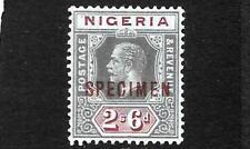 NIGERIA 1914-29  2/6  KGV   MLH  SPECIMEN  SG 9s