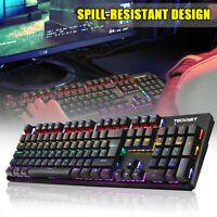 TeckNet Mechanical Gaming Keyboard RGB Backlit 105 Keys Metal Panel for Gamers