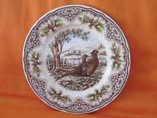THE VICTORIAN ENGLISH POTTERY PHEASANT WOODLAND DINNER PLATE(S) NEW