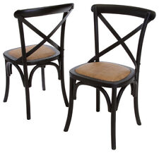 Classic French Design Natural American Oak Timber Black Dining Chairs - 2x Pcs