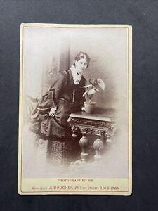 Victorian Cabinet Card: Lady Unusual Pose Plant pot: Boucher Brighton