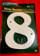 Address White Number 8 (6� / 152mm) Weatherproof & Comes With Mounting Screws
