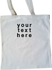 personalised embroidered tote shopper bag any text 100% cotton neutral