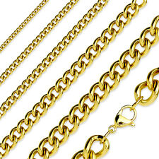 """Gold Plated Stainless Steel Curb Chain Link Necklace - 16"""" to 19"""" Length"""