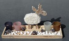 Holztablett 47x14,5x2,5 cm mit 4 Teelichtergläser, Elch. NEU!!! SALE%%%