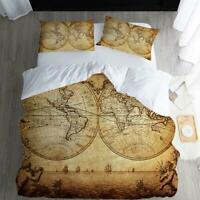 Retro Map 3pcs Bedding Duvet Cover Sets Personality Comforter Cover Pillowcase