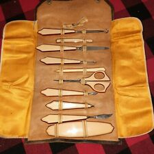 Antique Leather Travel Manicure Set of French Ivory