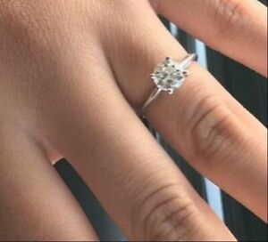 DIAMOND ENGAGEMENT RING D SI1 0.50 CT ROUND SOLITAIRE 14K WHITE GOLD SOLID NEW