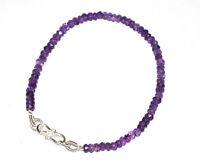 "925 Sterling Silver Handmade Purple Amethyst Gemstone 5-10"" Bracelet 4-4.5mm H32"