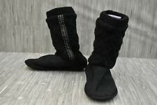 ISOTONER Sweater Knit Tessa Tall Boot House Slipper - Women's Size 8.5-9 - Black
