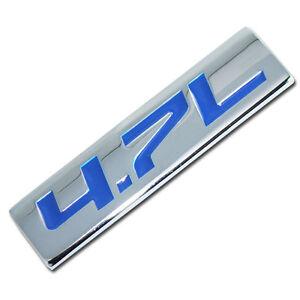 CHROME/BLUE METAL 4.7L ENGINE RACE MOTOR SWAP EMBLEM BADGE FOR TRUNK HOOD DOOR