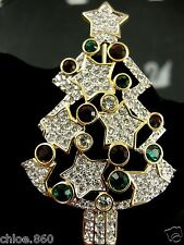 SIGNED SWAROVSKI PAVE' CRYSTAL  CHRISTMAS TREE PIN~ BROOCH RETIRED RARE NIB