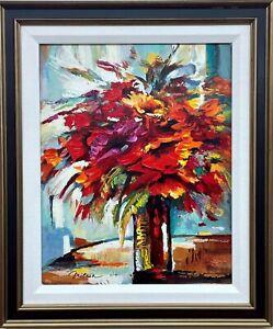 "Michael Milkin ""Bouquet of Reds""   Hand Signed & embellished Framed Art New"