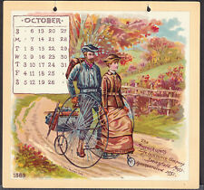 Velocipede 1889 Bicycle Life Insurance Advertising Calendar Card Gray Parker art