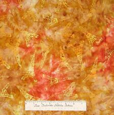 Batik Fabric - Paris Panache Eiffel Tower Toss Yellow Orange - Riverwoods YARD