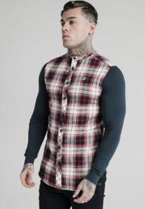 Mens Sik Silk Siksilk King Long Full Sleeve Grandad Collar Check Shirt Gym Top