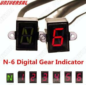Universal LED N-6 Speed Digital Gear Indicator Motorcycle Shift Lever Gauge 1Pc